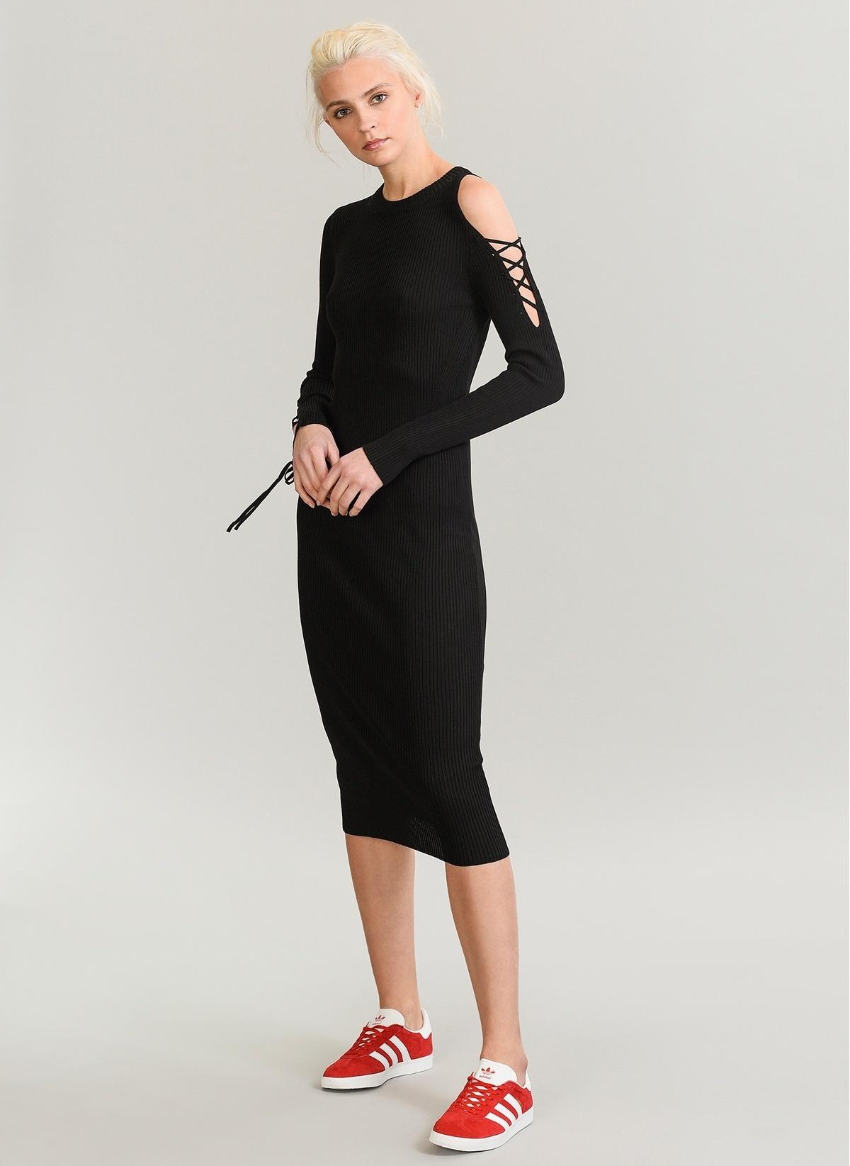 59ddcd689a547 People By Fabrika Kadın Omuz Detaylı Triko Elbise Siyah   Morhipo ...